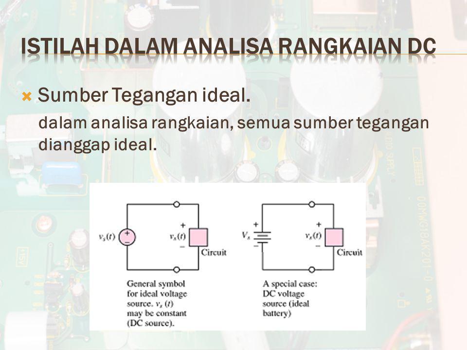  Sumber Tegangan ideal. dalam analisa rangkaian, semua sumber tegangan dianggap ideal.