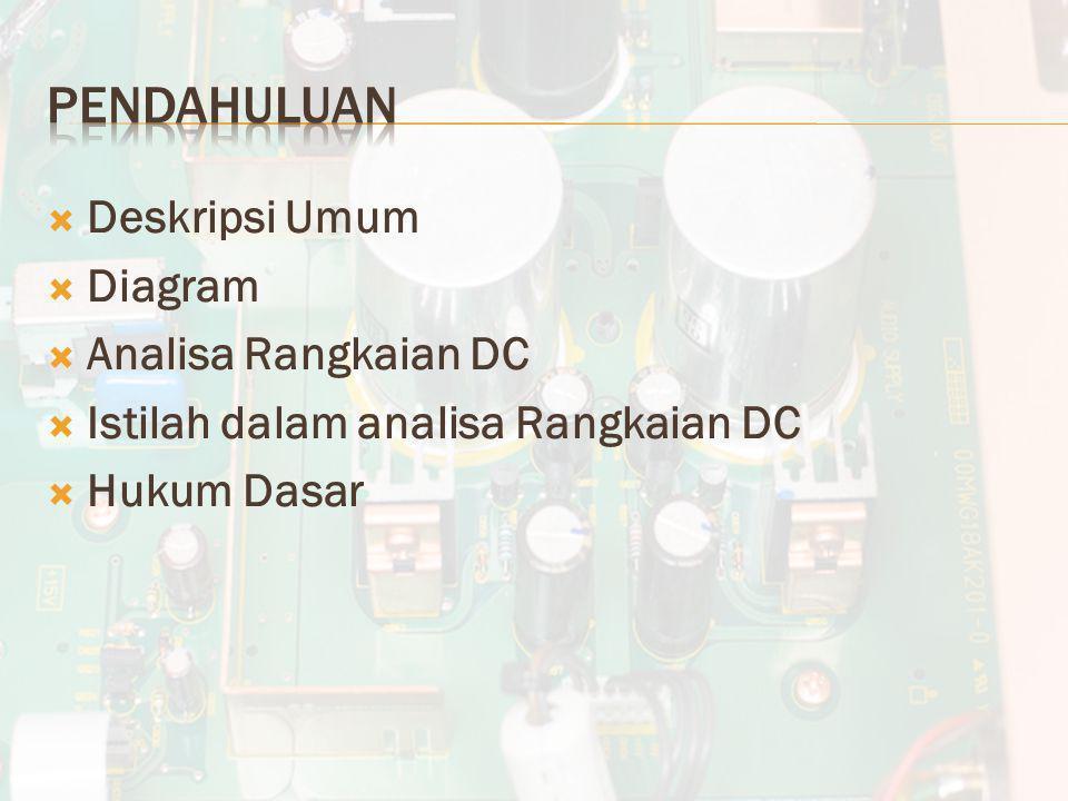  Deskripsi Umum  Diagram  Analisa Rangkaian DC  Istilah dalam analisa Rangkaian DC  Hukum Dasar