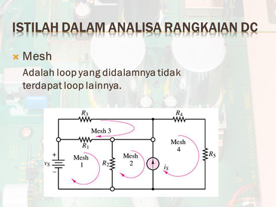  Mesh Adalah loop yang didalamnya tidak terdapat loop lainnya.