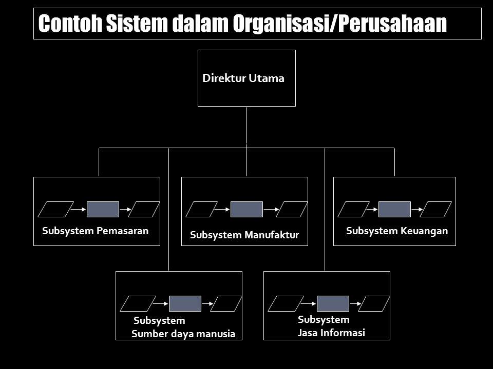 Subsystem Pemasaran Subsystem Manufaktur Subsystem Keuangan Direktur Utama Contoh Sistem dalam Organisasi/Perusahaan Subsystem Sumber daya manusia Sub