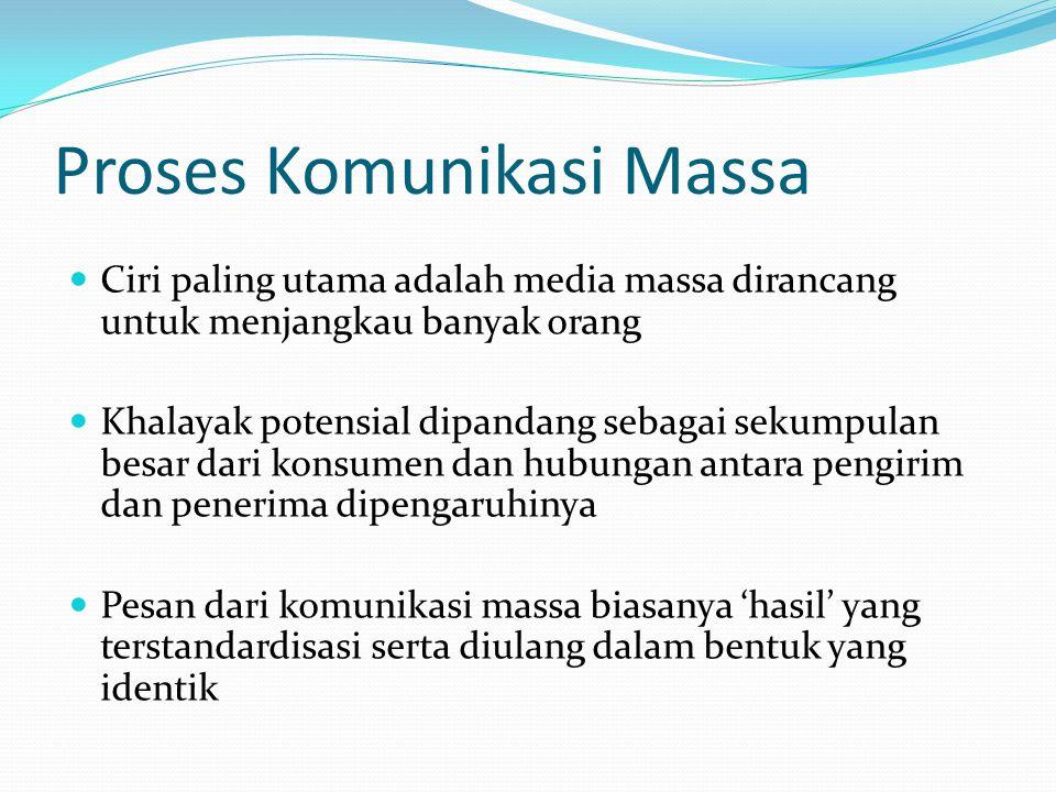 Proses Komunikasi Massa Ciri paling utama adalah media massa dirancang untuk menjangkau banyak orang Khalayak potensial dipandang sebagai sekumpulan b