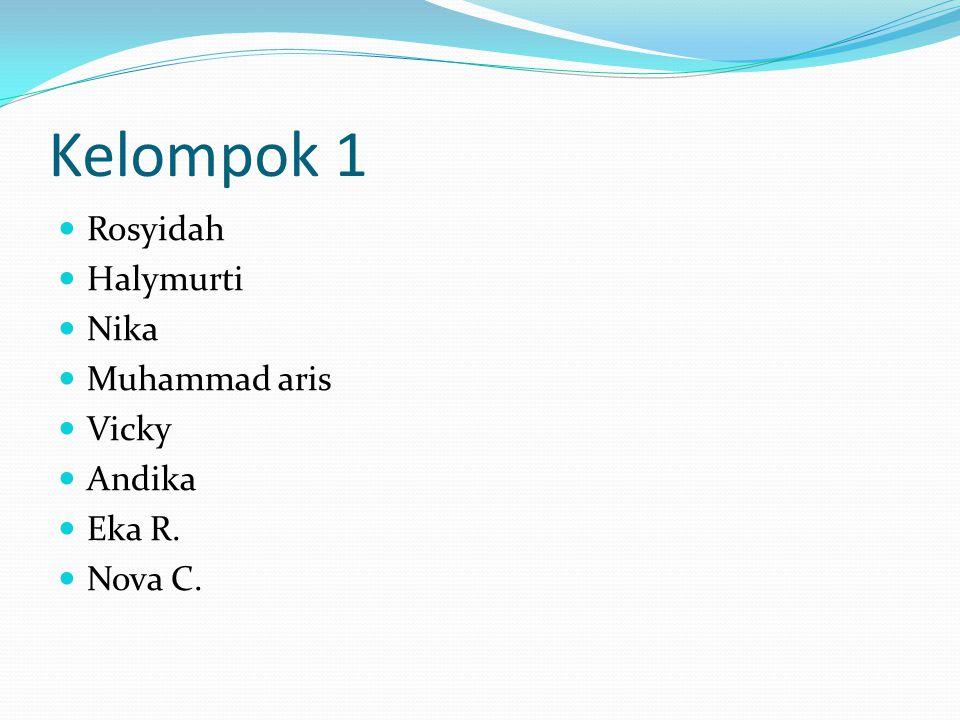 Kelompok 1 Rosyidah Halymurti Nika Muhammad aris Vicky Andika Eka R. Nova C.