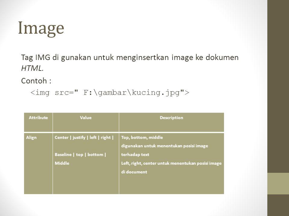 Image Tag IMG di gunakan untuk menginsertkan image ke dokumen HTML. Contoh : AttributeValueDescription AlignCenter | justify | left | right | Baseline