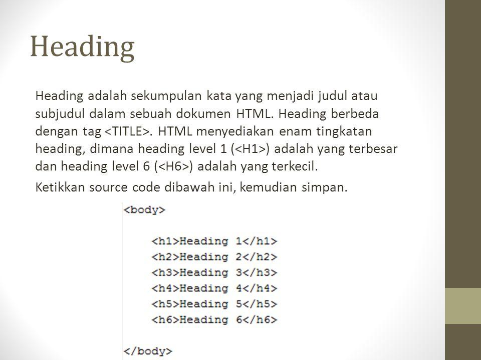 Heading Heading adalah sekumpulan kata yang menjadi judul atau subjudul dalam sebuah dokumen HTML. Heading berbeda dengan tag. HTML menyediakan enam t