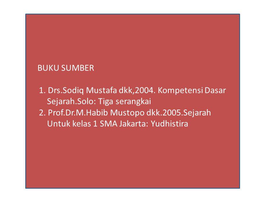 BUKU SUMBER 1. Drs.Sodiq Mustafa dkk,2004. Kompetensi Dasar Sejarah.Solo: Tiga serangkai 2. Prof.Dr.M.Habib Mustopo dkk.2005.Sejarah Untuk kelas 1 SMA