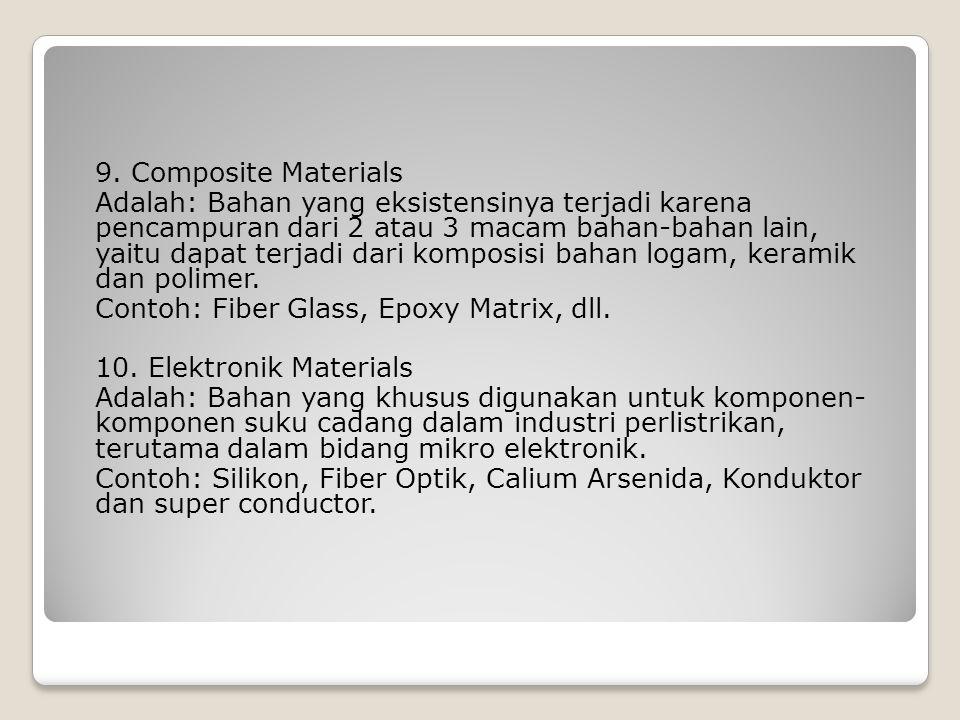 9. Composite Materials Adalah: Bahan yang eksistensinya terjadi karena pencampuran dari 2 atau 3 macam bahan-bahan lain, yaitu dapat terjadi dari komp