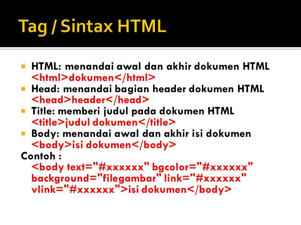  HTML: menandai awal dan akhir dokumen HTML dokumen  Head: menandai bagian header dokumen HTML header  Title: memberi judul pada dokumen HTML judul