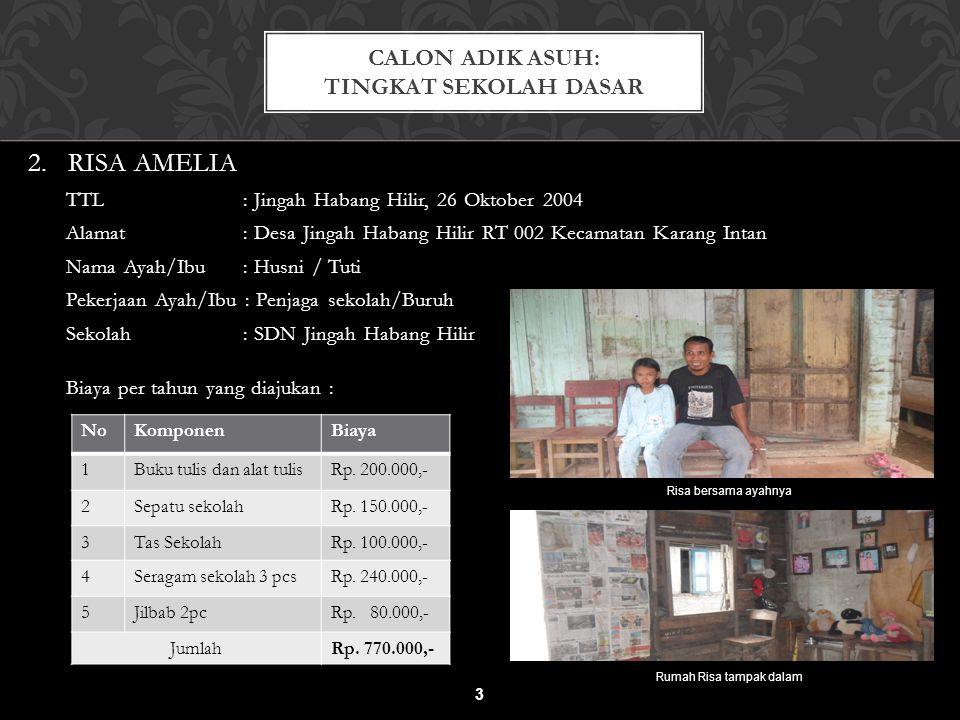 2. RISA AMELIA TTL : Jingah Habang Hilir, 26 Oktober 2004 Alamat : Desa Jingah Habang Hilir RT 002 Kecamatan Karang Intan Nama Ayah/Ibu : Husni / Tuti