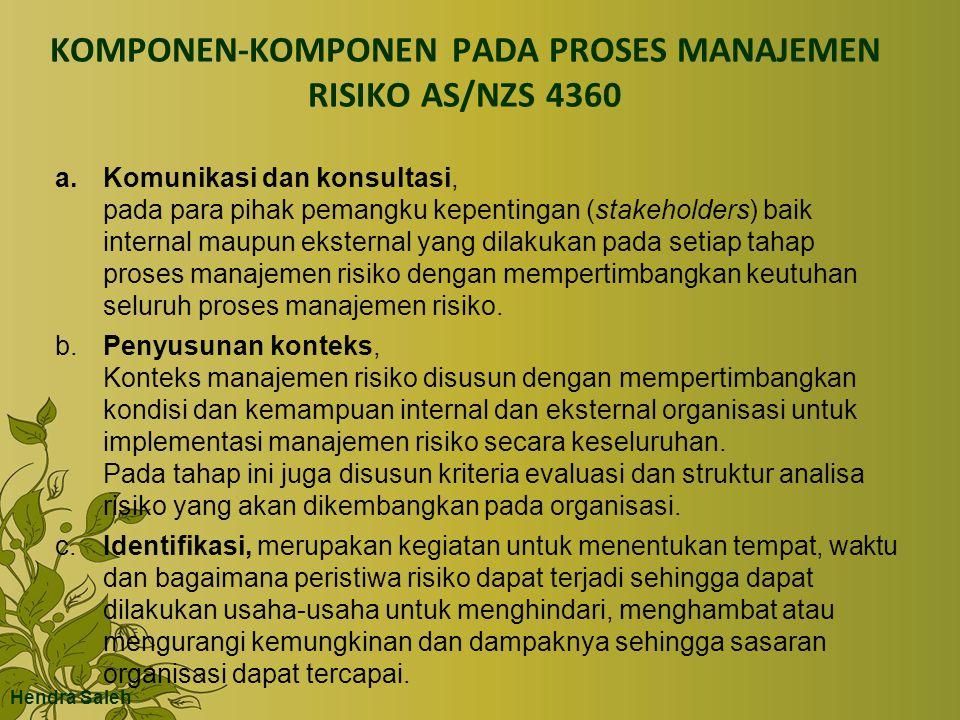 KOMPONEN-KOMPONEN PADA PROSES MANAJEMEN RISIKO AS/NZS 4360 a.Komunikasi dan konsultasi, pada para pihak pemangku kepentingan (stakeholders) baik inter