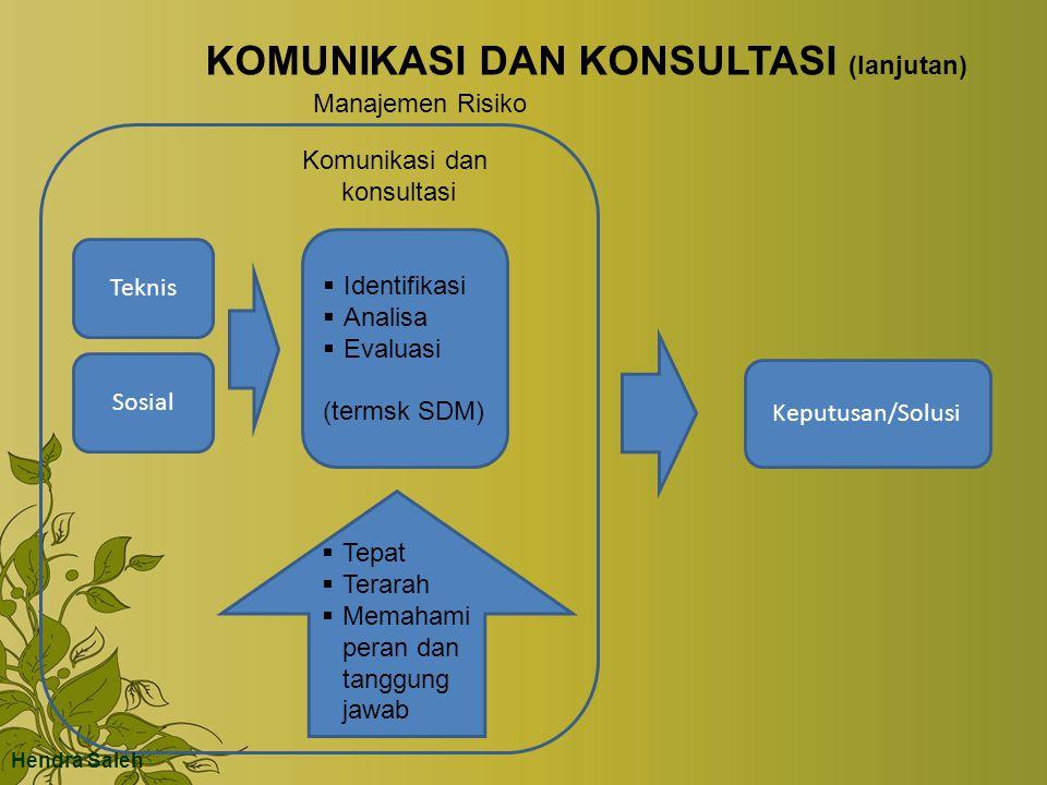KOMUNIKASI DAN KONSULTASI (lanjutan) Teknis Sosial Keputusan/Solusi Manajemen Risiko  Identifikasi  Analisa  Evaluasi (termsk SDM) Komunikasi dan konsultasi  Tepat  Terarah  Memahami peran dan tanggung jawab Hendra Saleh