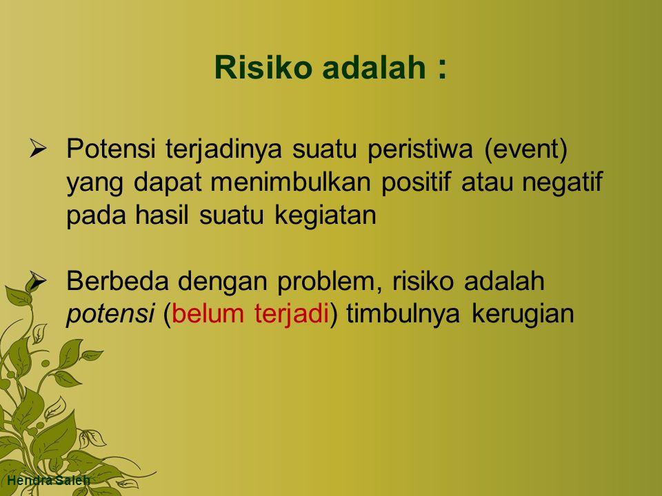 Risiko adalah :  Potensi terjadinya suatu peristiwa (event) yang dapat menimbulkan positif atau negatif pada hasil suatu kegiatan  Berbeda dengan problem, risiko adalah potensi (belum terjadi) timbulnya kerugian Hendra Saleh