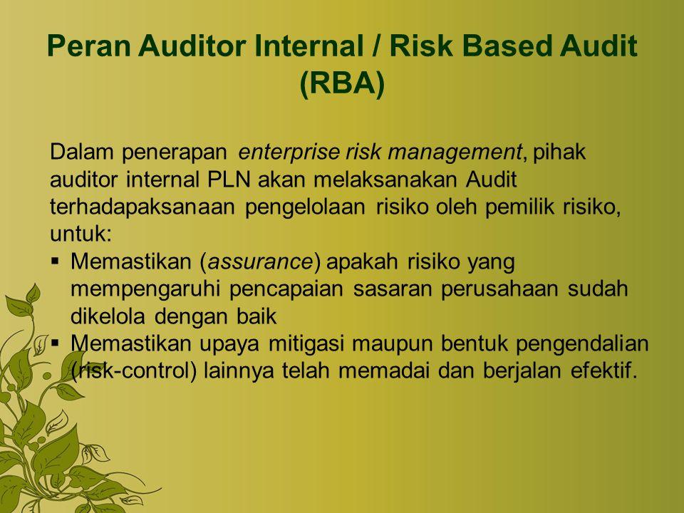 Peran Auditor Internal / Risk Based Audit (RBA) Dalam penerapan enterprise risk management, pihak auditor internal PLN akan melaksanakan Audit terhada