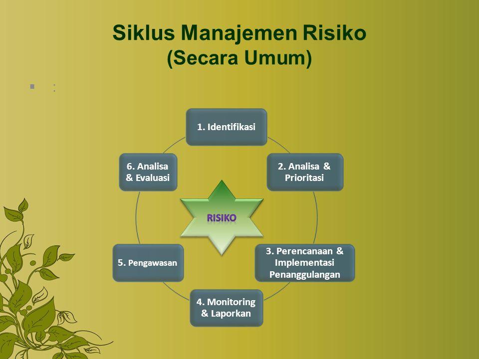 Siklus Manajemen Risiko (Secara Umum) :: 1. Identifikasi 2. Analisa & Prioritasi 3. Perencanaan & Implementasi Penanggulangan 4. Monitoring & Lapork