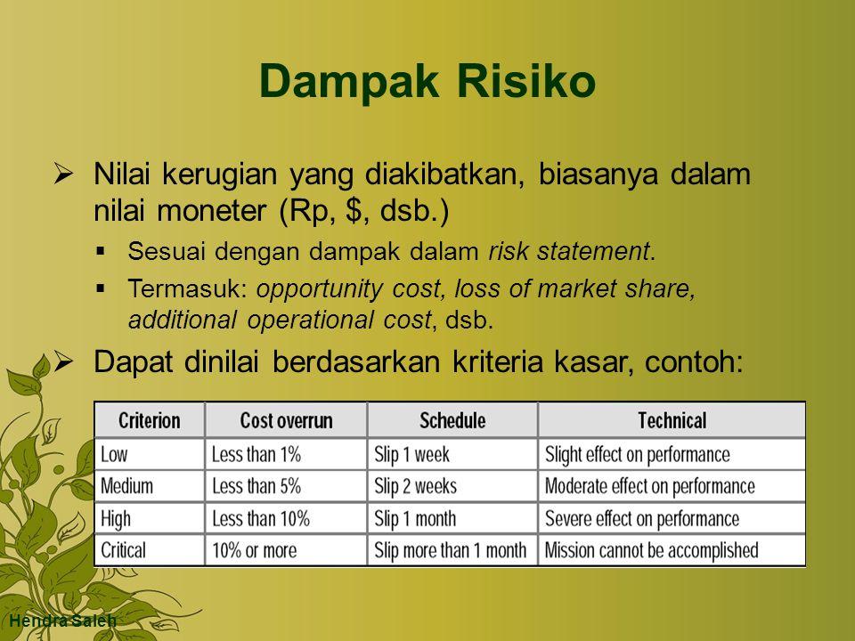 Dampak Risiko  Nilai kerugian yang diakibatkan, biasanya dalam nilai moneter (Rp, $, dsb.)  Sesuai dengan dampak dalam risk statement.  Termasuk: o
