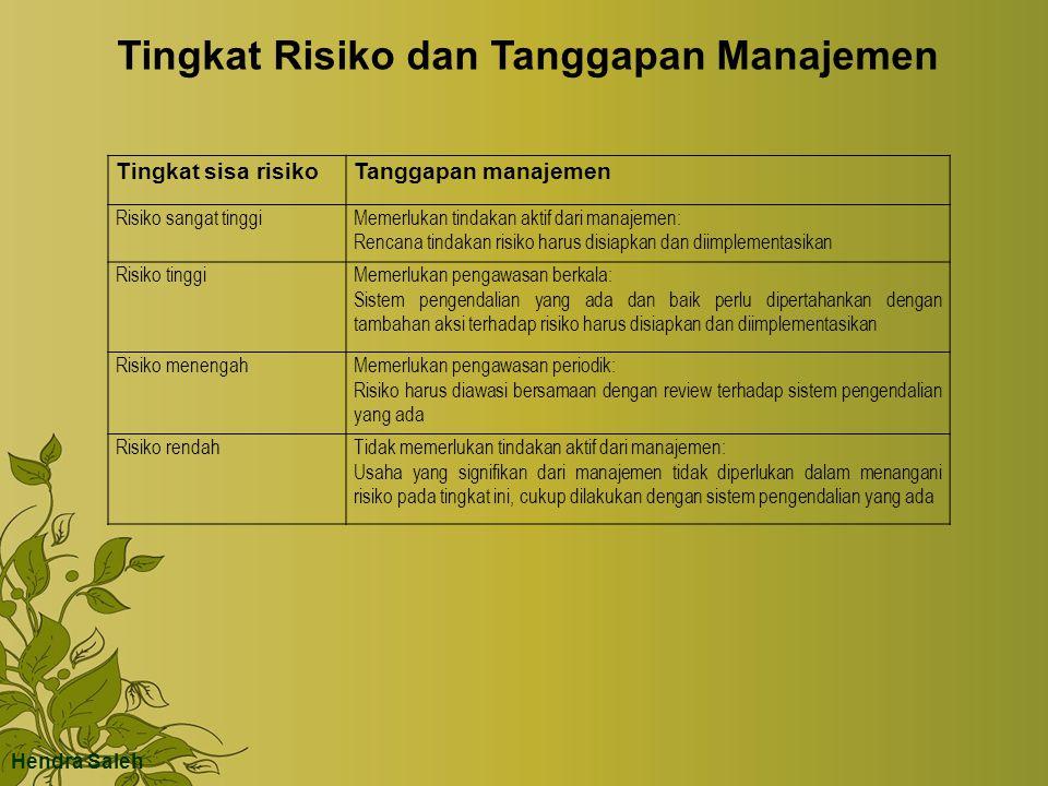 Hendra Saleh Tingkat sisa risikoTanggapan manajemen Risiko sangat tinggiMemerlukan tindakan aktif dari manajemen: Rencana tindakan risiko harus disiap