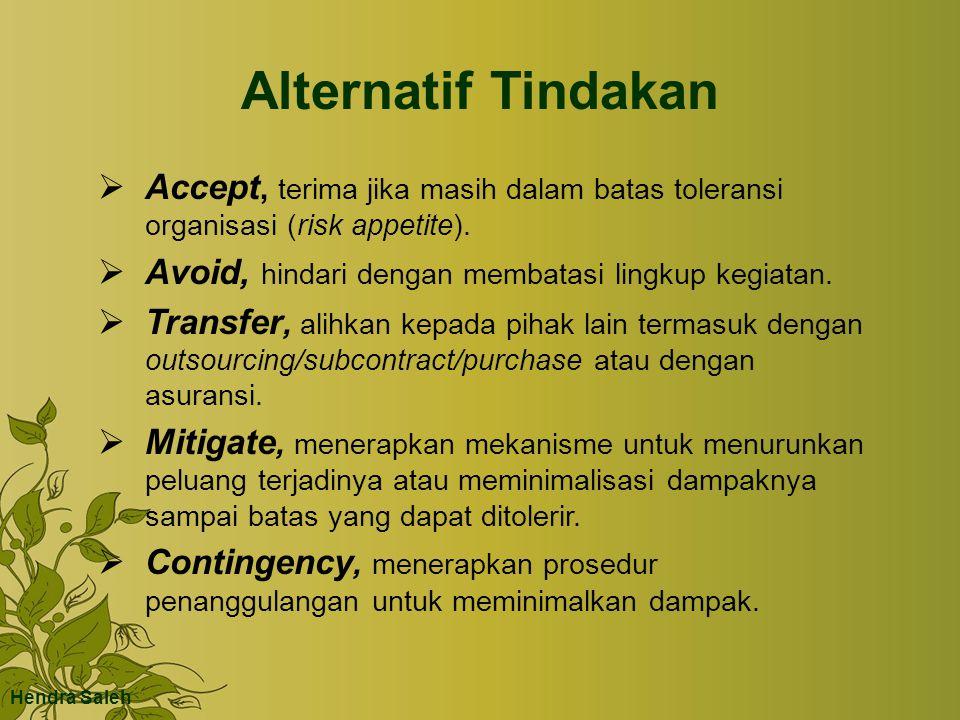 Alternatif Tindakan  Accept, terima jika masih dalam batas toleransi organisasi (risk appetite).