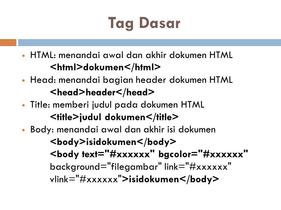 Tag Dasar HTML: menandai awal dan akhir dokumen HTML dokumen Head: menandai bagian header dokumen HTML header Title: memberi judul pada dokumen HTML j