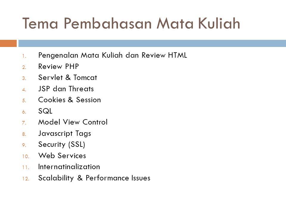 Tema Pembahasan Mata Kuliah 1. Pengenalan Mata Kuliah dan Review HTML 2. Review PHP 3. Servlet & Tomcat 4. JSP dan Threats 5. Cookies & Session 6. SQL