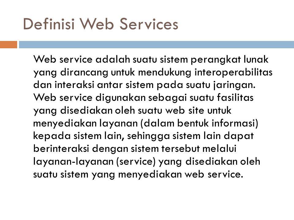 Definisi Web Services Web service adalah suatu sistem perangkat lunak yang dirancang untuk mendukung interoperabilitas dan interaksi antar sistem pada suatu jaringan.