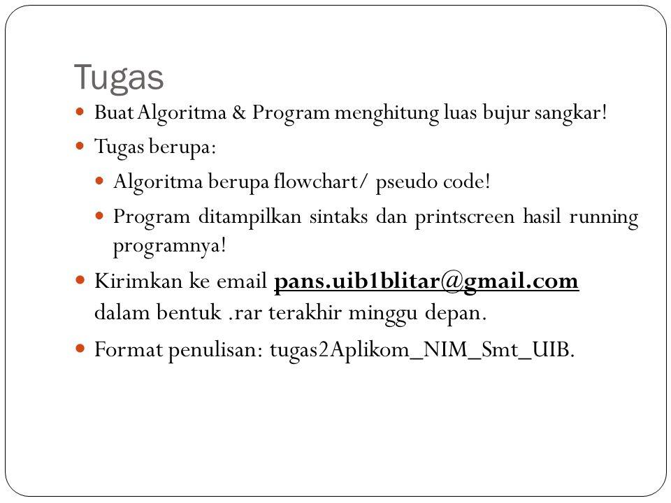 Tugas Buat Algoritma & Program menghitung luas bujur sangkar! Tugas berupa: Algoritma berupa flowchart/ pseudo code! Program ditampilkan sintaks dan p