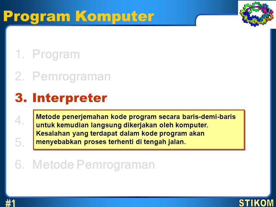 Program Komputer Program Pemrograman Interpreter Compiler Bahasa Pemrograman Metode Pemrograman 1.