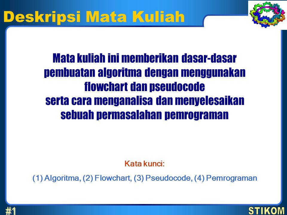 Kata kunci: (1) Algoritma, (2) Flowchart, (3) Pseudocode, (4) Pemrograman Deskripsi Mata Kuliah