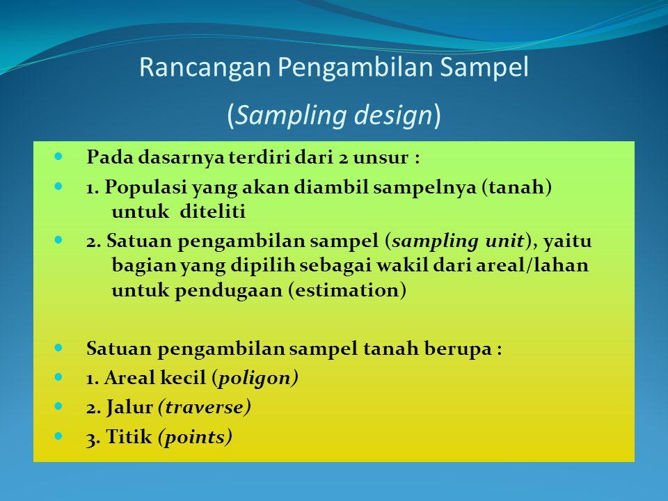 Rancangan Pengambilan Sampel (Sampling design) Pada dasarnya terdiri dari 2 unsur : 1. Populasi yang akan diambil sampelnya (tanah) untuk diteliti 2.