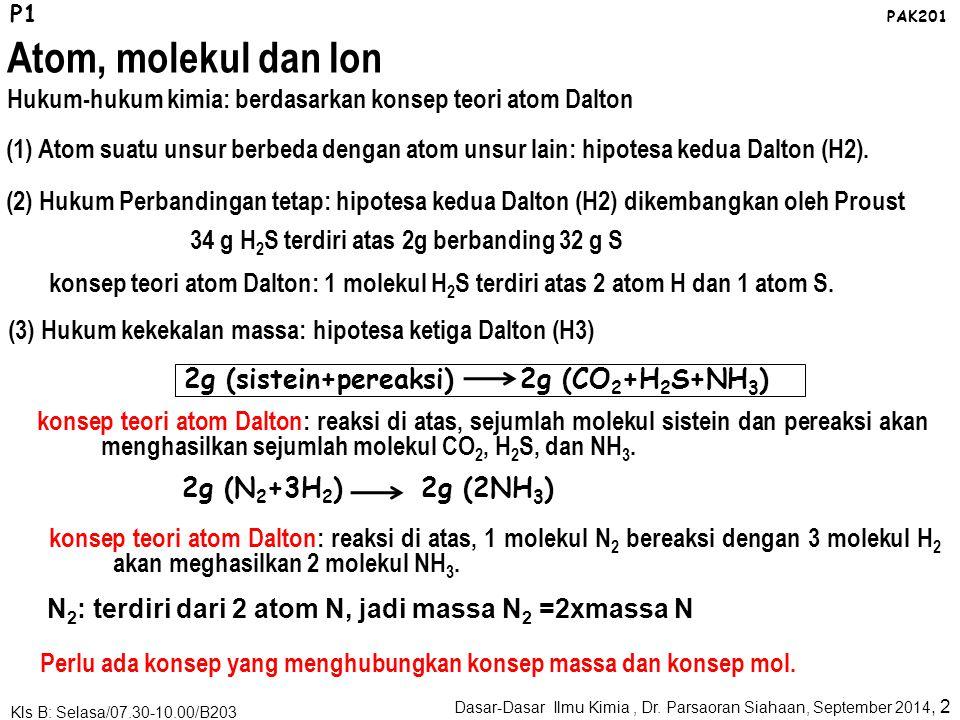 elektonJumlah e: Z, nomor atom Proton, neutronJumlah p+n: A, nomor massa Z: Pengidentifikasi unsur P2 PAK201 Atom, molekul dan Ion Memahami atom berdasarkan partikel penyusunnya: nomor atom, nomor massa, isotop Elektron: muatan negatip; proton: positip; neutron: netral; ketiganya mempunyai massa.