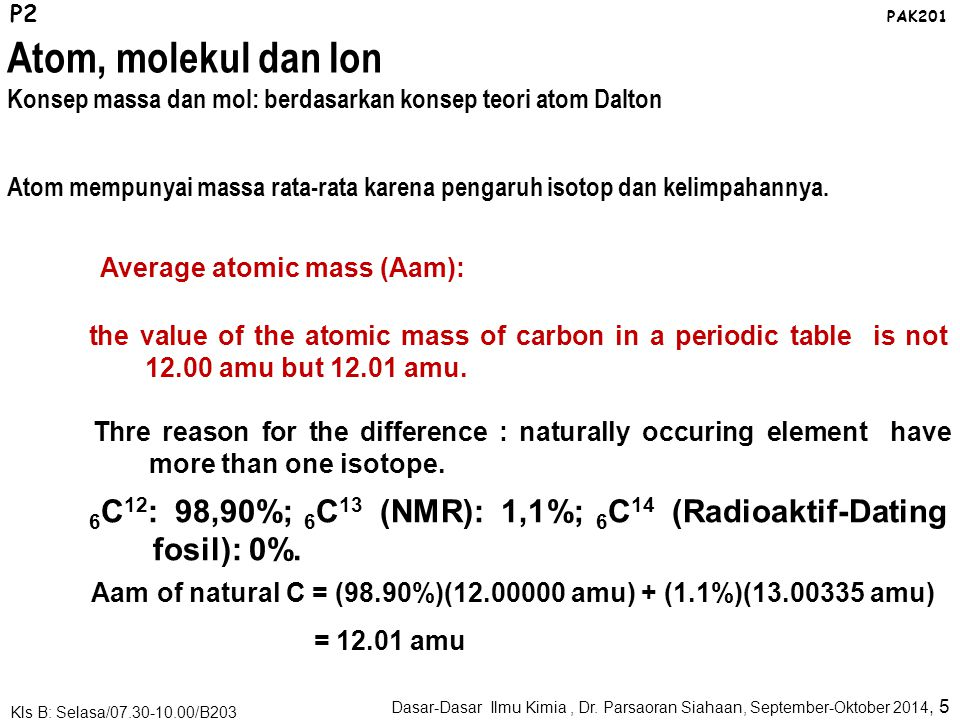 Atomic mass: mass of the atom in atomic mass unit (amu atau sma) Atomic Mass 1 amu is defined as a mass exactly equal to one-twelfth the mass of one carbon-12 atom.