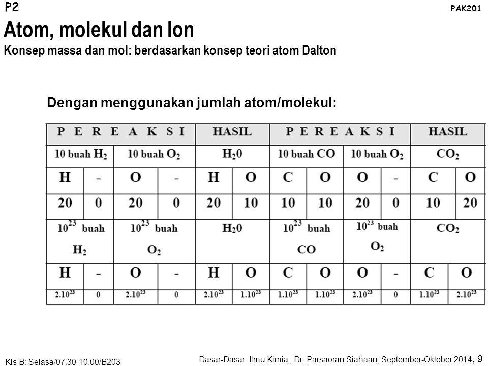 Dengan menggunakan jumlah atom/molekul: P2 PAK201 Dasar-Dasar Ilmu Kimia, Dr.