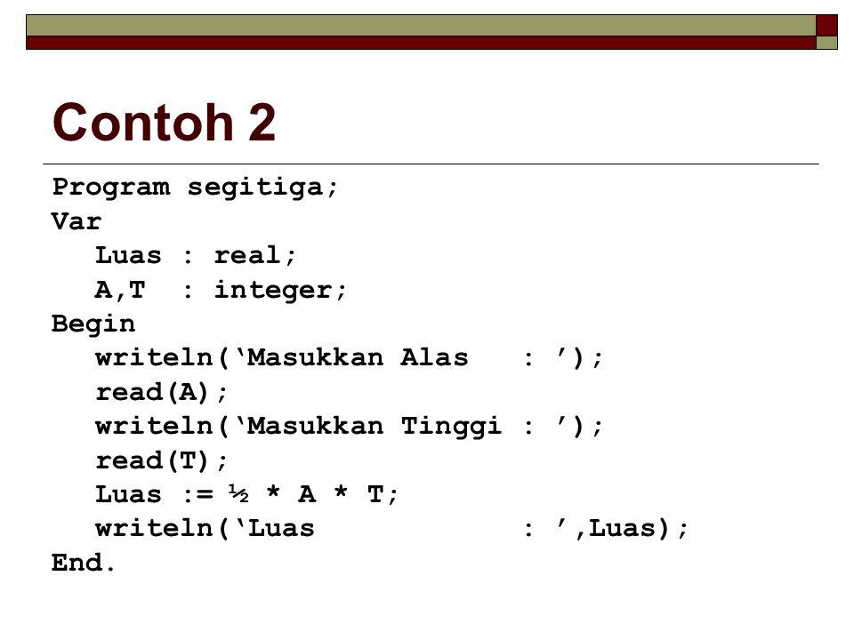 Contoh 2 Program segitiga; Var Luas : real; A,T : integer; Begin writeln('Masukkan Alas : '); read(A); writeln('Masukkan Tinggi : '); read(T); Luas := ½ * A * T; writeln('Luas : ',Luas); End.