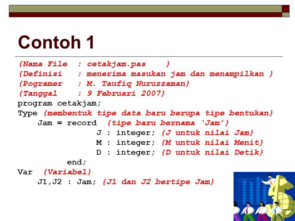 Contoh 1 {Nama File: cetakjam.pas} {Definisi: menerima masukan jam dan menampilkan } {Pogramer: M.