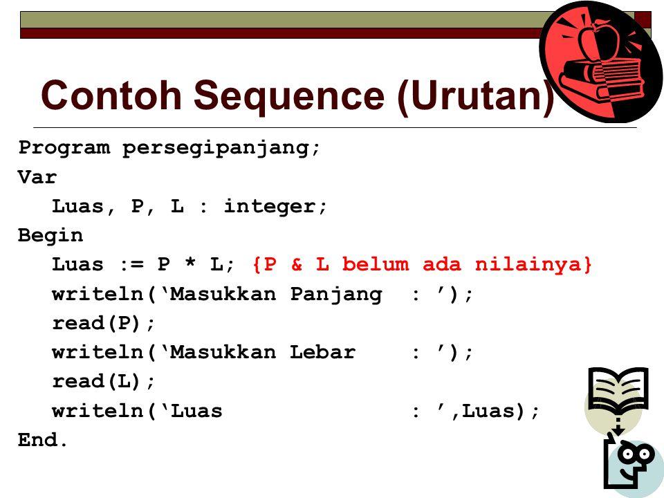 Contoh Sequence (Urutan) Program persegipanjang; Var Luas, P, L : integer; Begin Luas := P * L; {P & L belum ada nilainya} writeln('Masukkan Panjang : '); read(P); writeln('Masukkan Lebar : '); read(L); writeln('Luas : ',Luas); End.