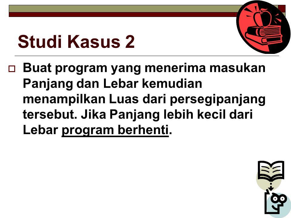 Studi Kasus 2  Buat program yang menerima masukan Panjang dan Lebar kemudian menampilkan Luas dari persegipanjang tersebut.