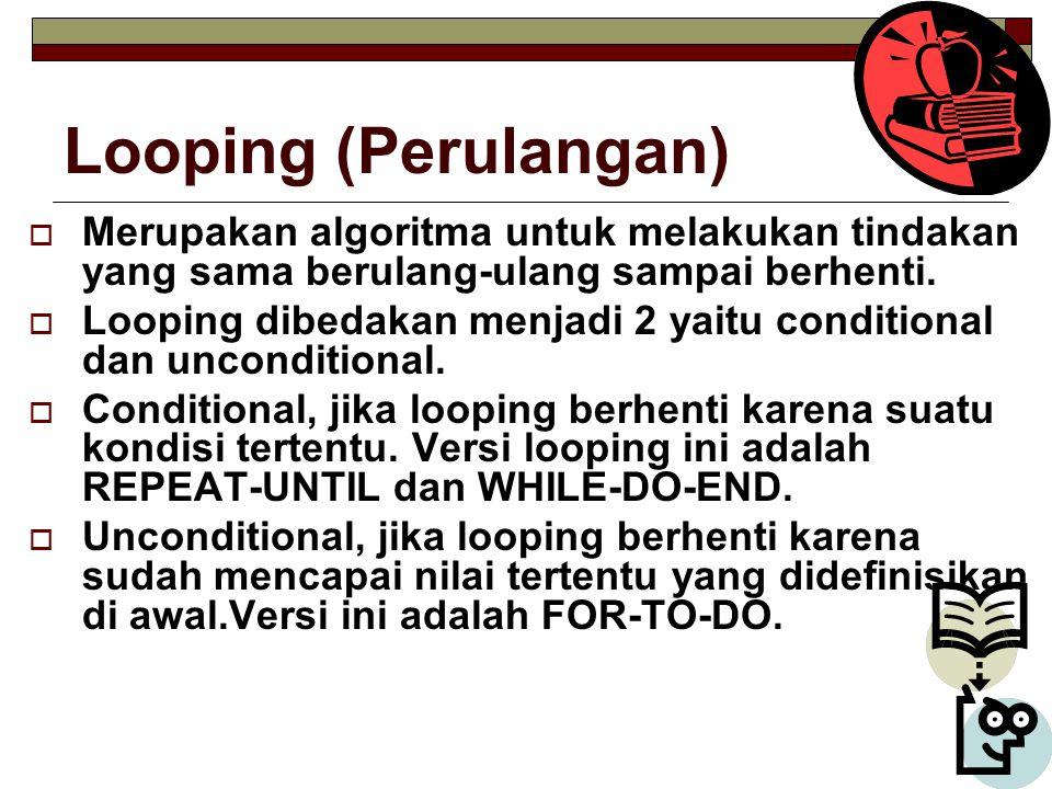 Looping (Perulangan)  Merupakan algoritma untuk melakukan tindakan yang sama berulang-ulang sampai berhenti.