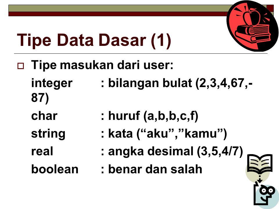 Tipe Data Dasar (1)  Tipe masukan dari user: integer: bilangan bulat (2,3,4,67,- 87) char: huruf (a,b,b,c,f) string: kata ( aku , kamu ) real: angka desimal (3,5,4/7) boolean: benar dan salah
