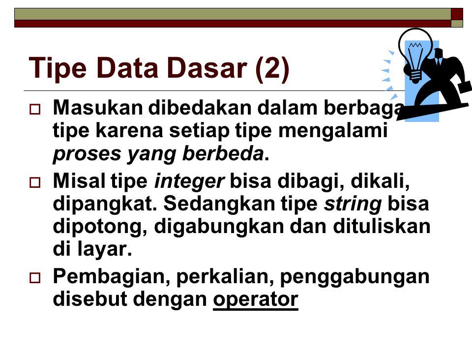 Studi Kasus 1  Buat program yang menerima masukan Panjang dan Lebar kemudian menampilkan Luas dari persegipanjang tersebut.