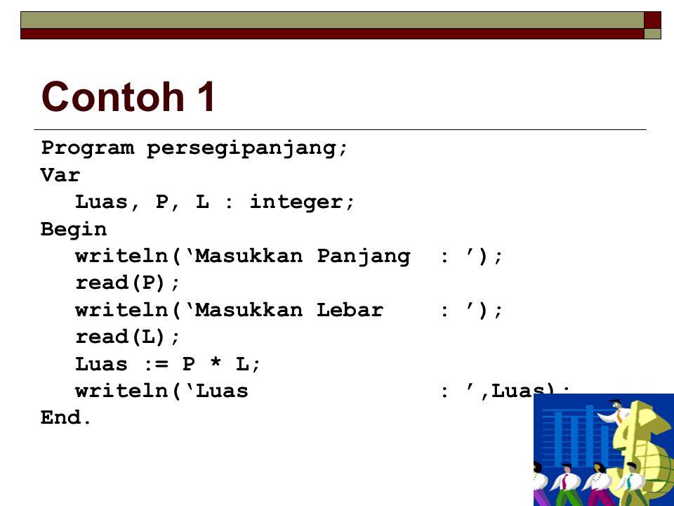 Contoh 1 Program persegipanjang; Var Luas, P, L : integer; Begin writeln('Masukkan Panjang : '); read(P); writeln('Masukkan Lebar : '); read(L); Luas := P * L; writeln('Luas : ',Luas); End.