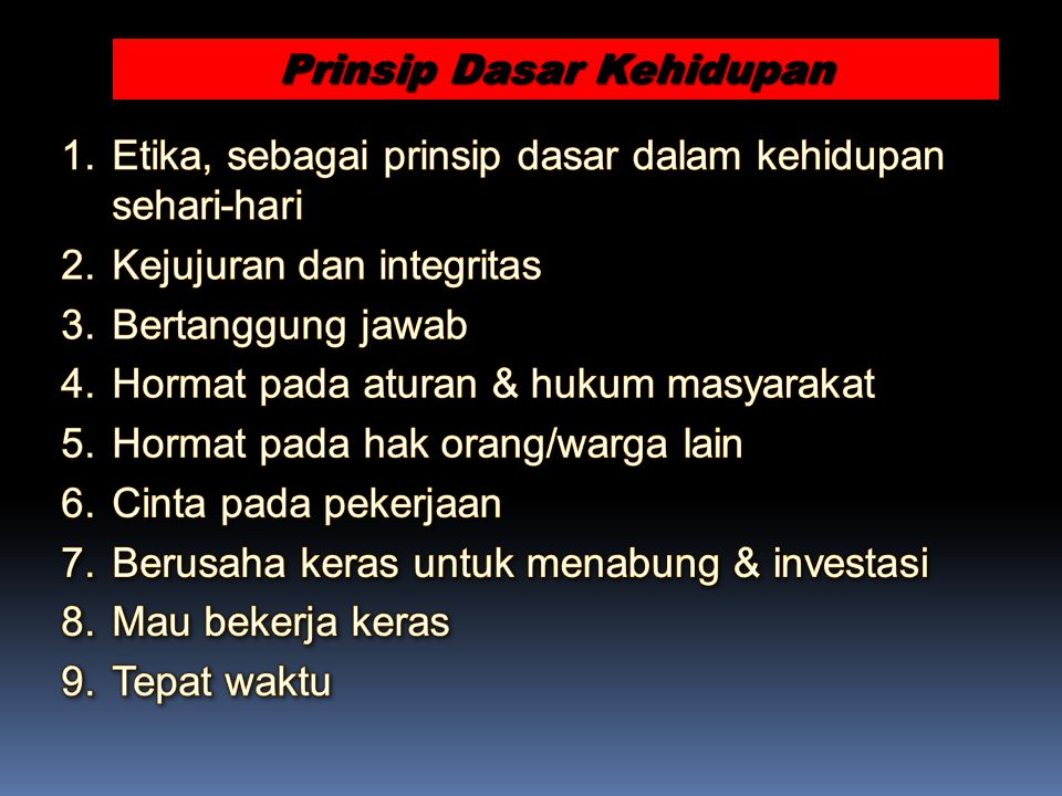 Prinsip Dasar Kehidupan