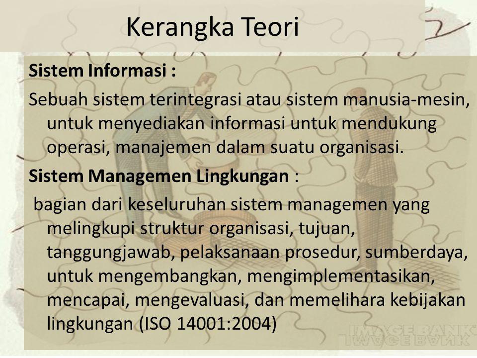 Kerangka Teori Sistem Informasi : Sebuah sistem terintegrasi atau sistem manusia-mesin, untuk menyediakan informasi untuk mendukung operasi, manajemen