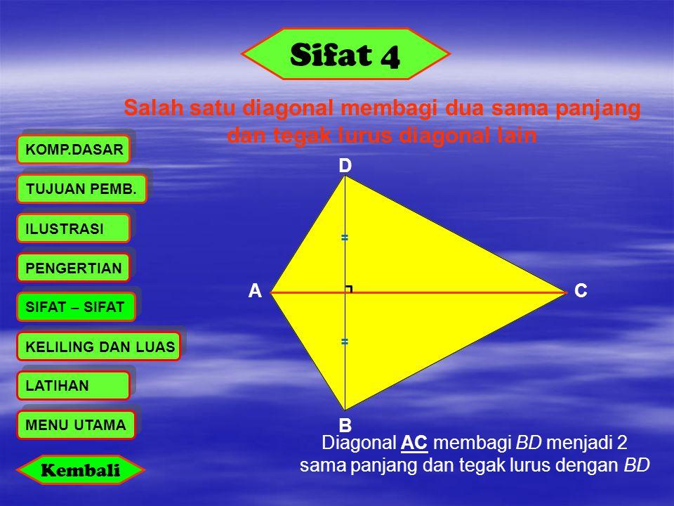 Sifat 4 Salah satu diagonal membagi dua sama panjang dan tegak lurus diagonal lain PENGERTIAN LATIHAN KELILING DAN LUAS ILUSTRASI SIFAT – SIFAT KOMP.D