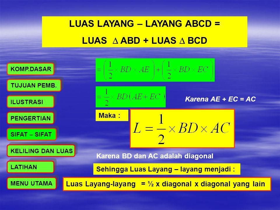 LUAS LAYANG – LAYANG ABCD = LUAS  ABD + LUAS  BCD Karena AE + EC = AC Maka : Luas Layang-layang = ½ x diagonal x diagonal yang lain Karena BD dan AC