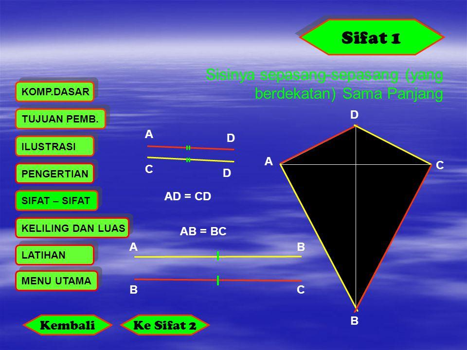 Sifat 1 Sisinya sepasang-sepasang (yang berdekatan) Sama Panjang A B C D AB BC A D C D PENGERTIAN LATIHAN KELILING DAN LUAS ILUSTRASI SIFAT – SIFAT KO
