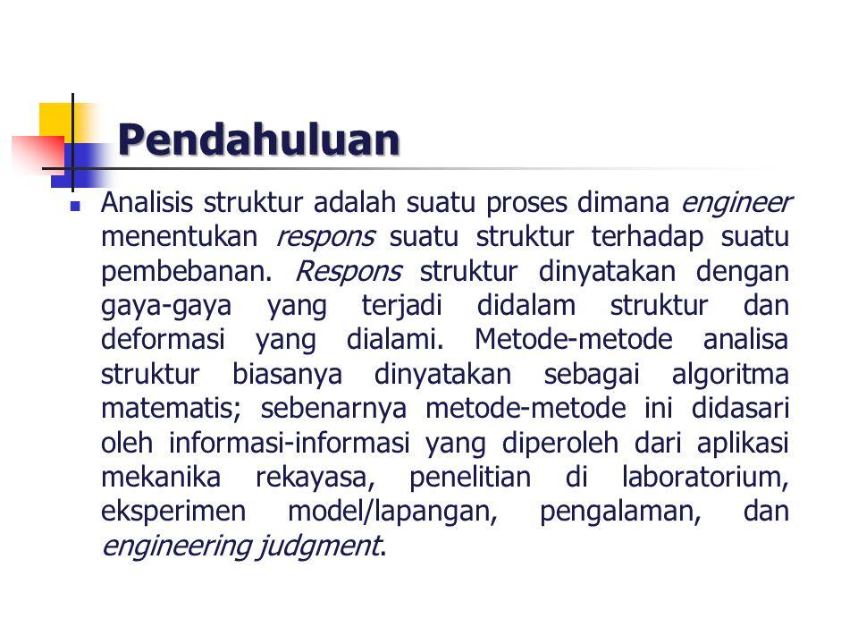 Pendahuluan Analisis struktur adalah suatu proses dimana engineer menentukan respons suatu struktur terhadap suatu pembebanan. Respons struktur dinyat