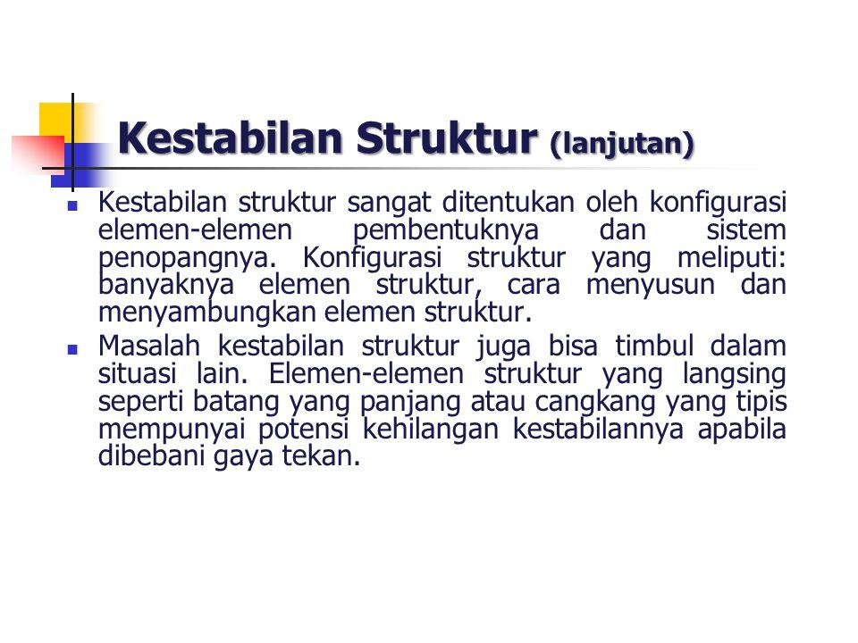 Kestabilan Struktur (lanjutan) Kestabilan struktur sangat ditentukan oleh konfigurasi elemen-elemen pembentuknya dan sistem penopangnya. Konfigurasi s