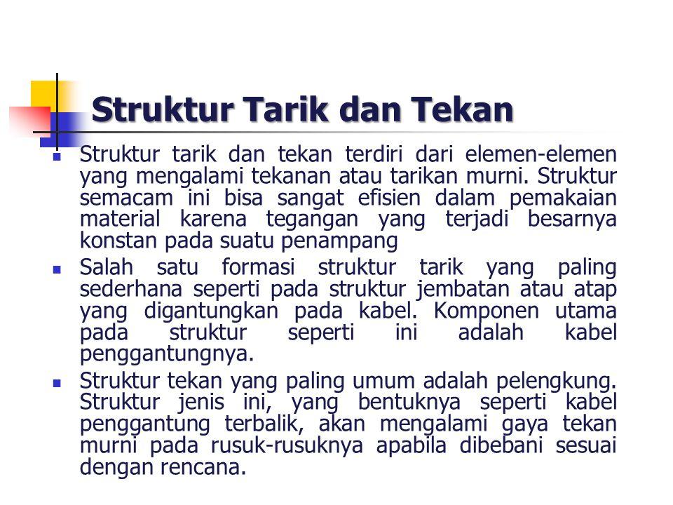 Struktur Tarik dan Tekan Struktur tarik dan tekan terdiri dari elemen-elemen yang mengalami tekanan atau tarikan murni. Struktur semacam ini bisa sang