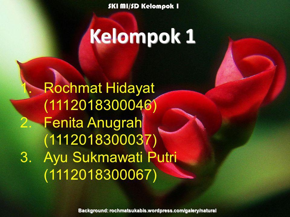 Kelompok 1 1.Rochmat Hidayat (1112018300046) 2.Fenita Anugrah (1112018300037) 3.Ayu Sukmawati Putri (1112018300067) Background: rochmatsukabis.wordpress.com/galery/natural SKI MI/SD Kelompok 1