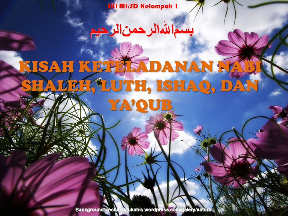 Nabi-nabi L u t h Ya'qub Ishaq Shaleh Background: rochmatsukabis.wordpress.com/galery/natural SKI MI/SD Kelompok 1