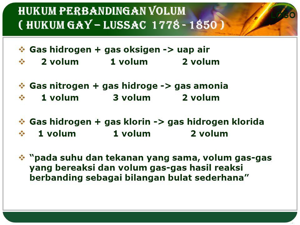 LOGO HUKUM PERBANDINGAN VOLUM ( HUKUM GAY – LUSSAC 1778 - 1850 )  Gas hidrogen + gas oksigen -> uap air  2 volum 1 volum 2 volum  Gas nitrogen + gas hidroge -> gas amonia  1 volum 3 volum 2 volum  Gas hidrogen + gas klorin -> gas hidrogen klorida  1 volum 1 volum 2 volum  pada suhu dan tekanan yang sama, volum gas-gas yang bereaksi dan volum gas-gas hasil reaksi berbanding sebagai bilangan bulat sederhana