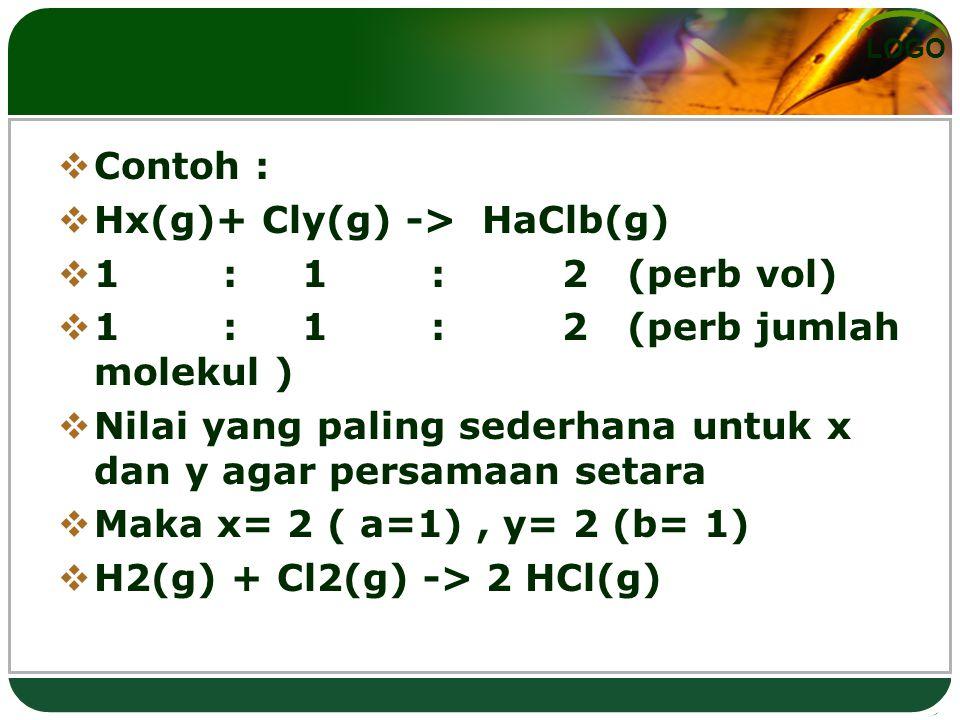 LOGO  Contoh :  Hx(g)+ Cly(g) -> HaClb(g)  1 : 1 : 2 (perb vol)  1 : 1 : 2 (perb jumlah molekul )  Nilai yang paling sederhana untuk x dan y agar persamaan setara  Maka x= 2 ( a=1), y= 2 (b= 1)  H2(g) + Cl2(g) -> 2 HCl(g)